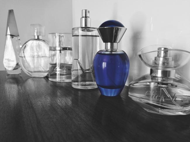 black-and-white-blue-bottles